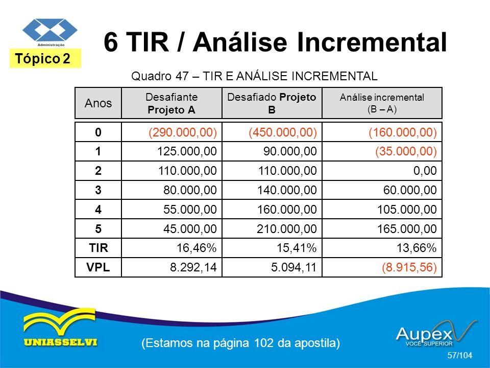 6 TIR / Análise Incremental (Estamos na página 102 da apostila) 57/104 Tópico 2 Anos Desafiante Projeto A Desafiado Projeto B Análise incremental (B –