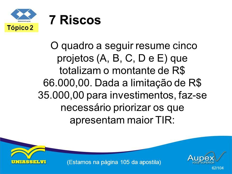 7 Riscos (Estamos na página 105 da apostila) 62/104 Tópico 2 O quadro a seguir resume cinco projetos (A, B, C, D e E) que totalizam o montante de R$ 6