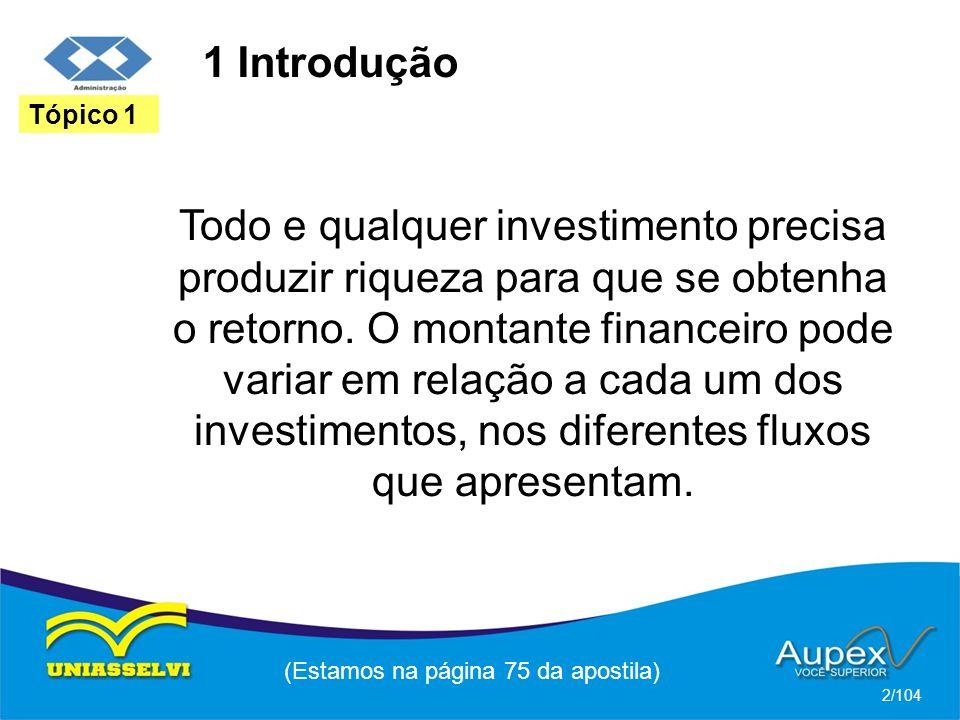 1 Introdução Todo e qualquer investimento precisa produzir riqueza para que se obtenha o retorno. O montante financeiro pode variar em relação a cada