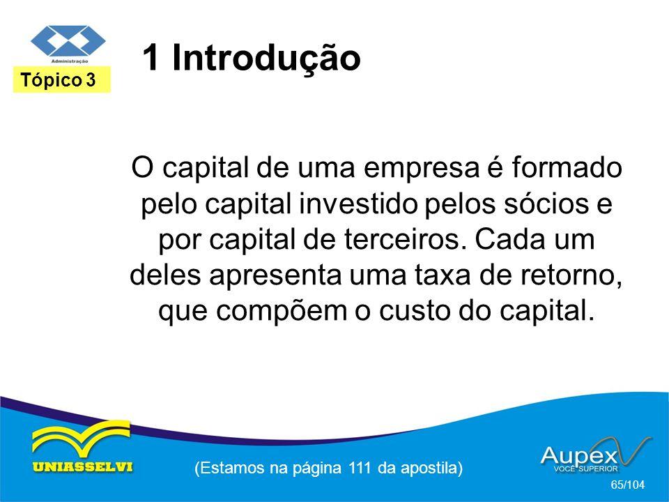 1 Introdução (Estamos na página 111 da apostila) 65/104 Tópico 3 O capital de uma empresa é formado pelo capital investido pelos sócios e por capital de terceiros.