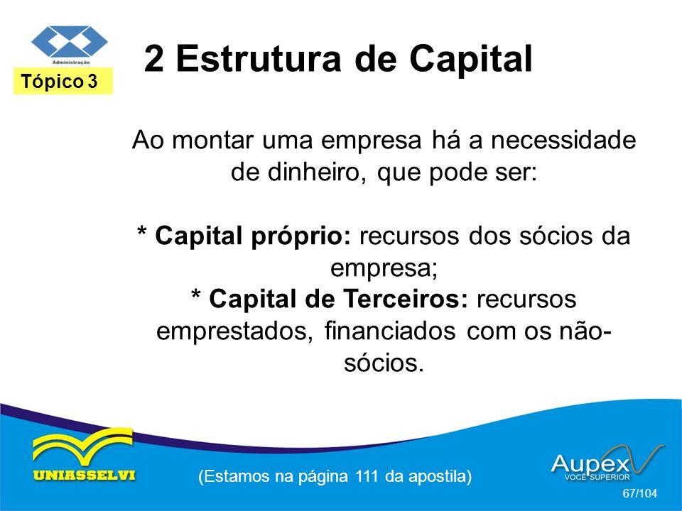2 Estrutura de Capital (Estamos na página 111 da apostila) 67/104 Tópico 3 Ao montar uma empresa há a necessidade de dinheiro, que pode ser: * Capital próprio: recursos dos sócios da empresa; * Capital de Terceiros: recursos emprestados, financiados com os não- sócios.