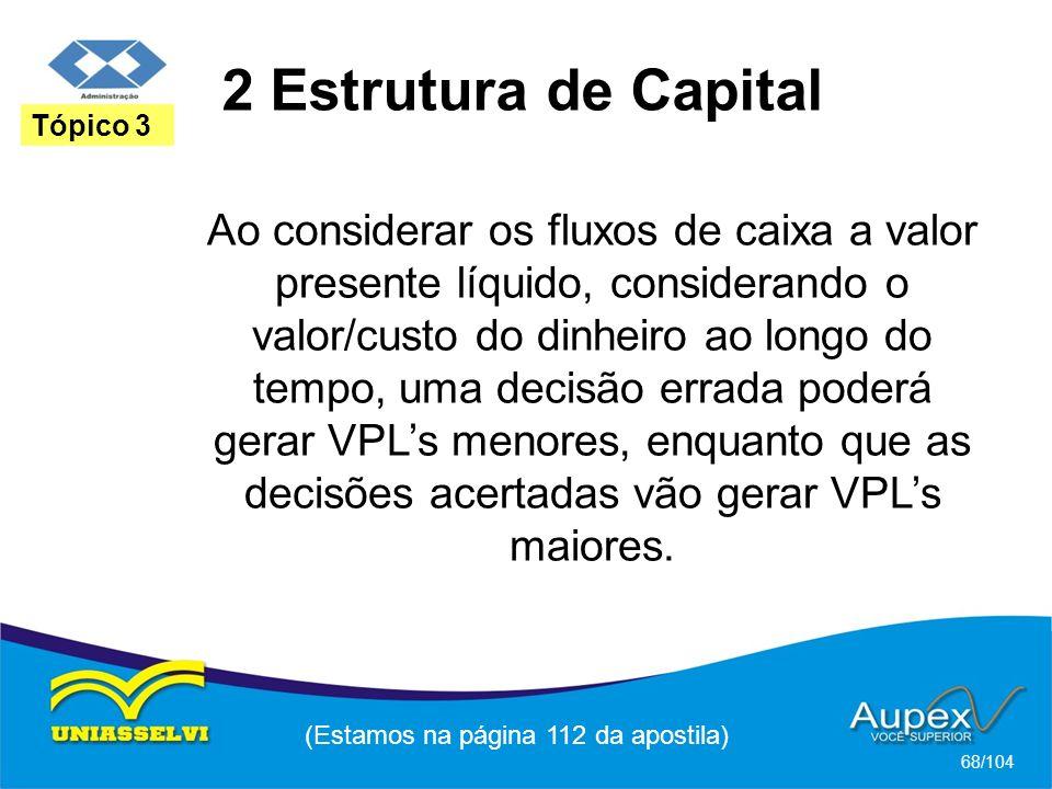 2 Estrutura de Capital (Estamos na página 112 da apostila) 68/104 Tópico 3 Ao considerar os fluxos de caixa a valor presente líquido, considerando o valor/custo do dinheiro ao longo do tempo, uma decisão errada poderá gerar VPLs menores, enquanto que as decisões acertadas vão gerar VPLs maiores.