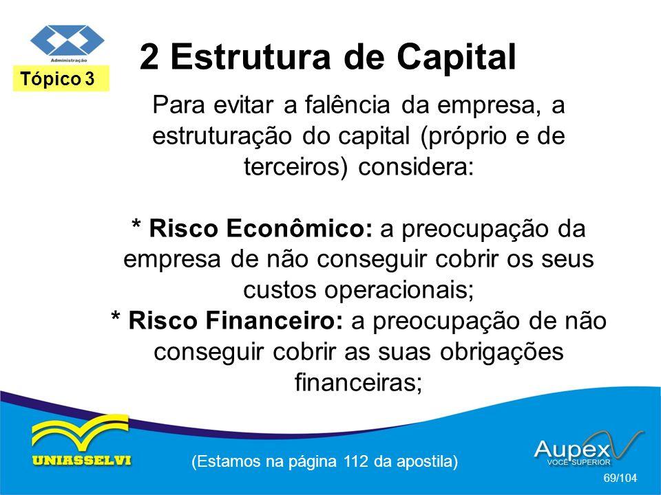 2 Estrutura de Capital (Estamos na página 112 da apostila) 69/104 Tópico 3 Para evitar a falência da empresa, a estruturação do capital (próprio e de terceiros) considera: * Risco Econômico: a preocupação da empresa de não conseguir cobrir os seus custos operacionais; * Risco Financeiro: a preocupação de não conseguir cobrir as suas obrigações financeiras;