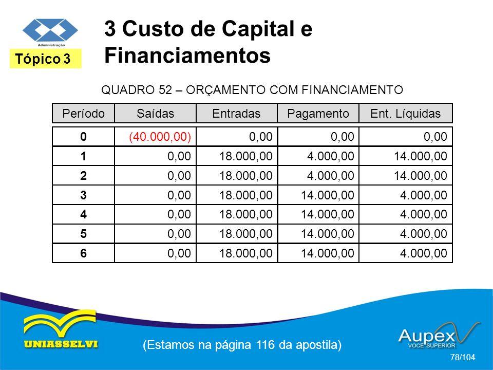 3 Custo de Capital e Financiamentos (Estamos na página 116 da apostila) 78/104 Tópico 3 PeríodoSaídasEntradasPagamentoEnt. Líquidas QUADRO 52 – ORÇAME