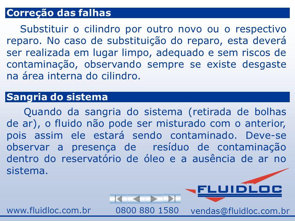 www.fluidloc.com.br0800 880 1580 Correção das falhas Substituir o cilindro por outro novo ou o respectivo reparo.