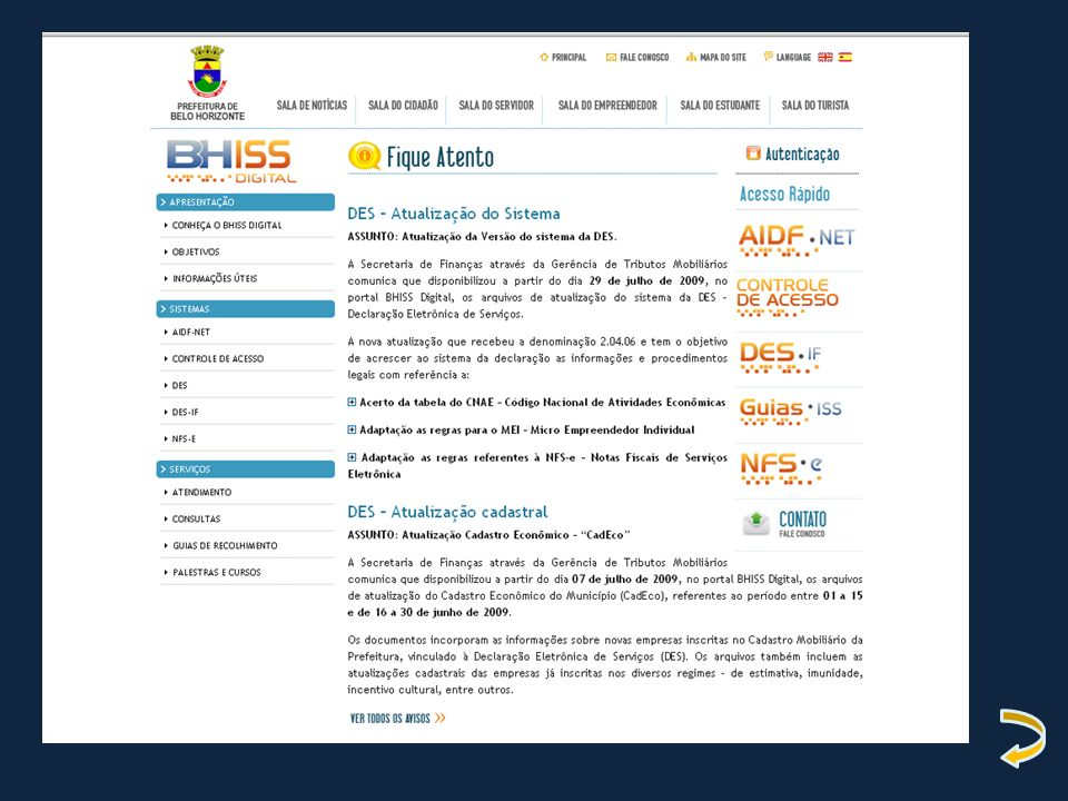 FORMAS DE EMISSÃO DA NFS-E On line via portal BHISS Digital.