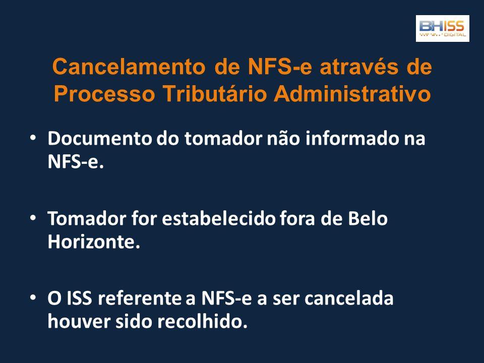 Cancelamento de NFS-e através de Processo Tributário Administrativo Documento do tomador não informado na NFS-e. Tomador for estabelecido fora de Belo