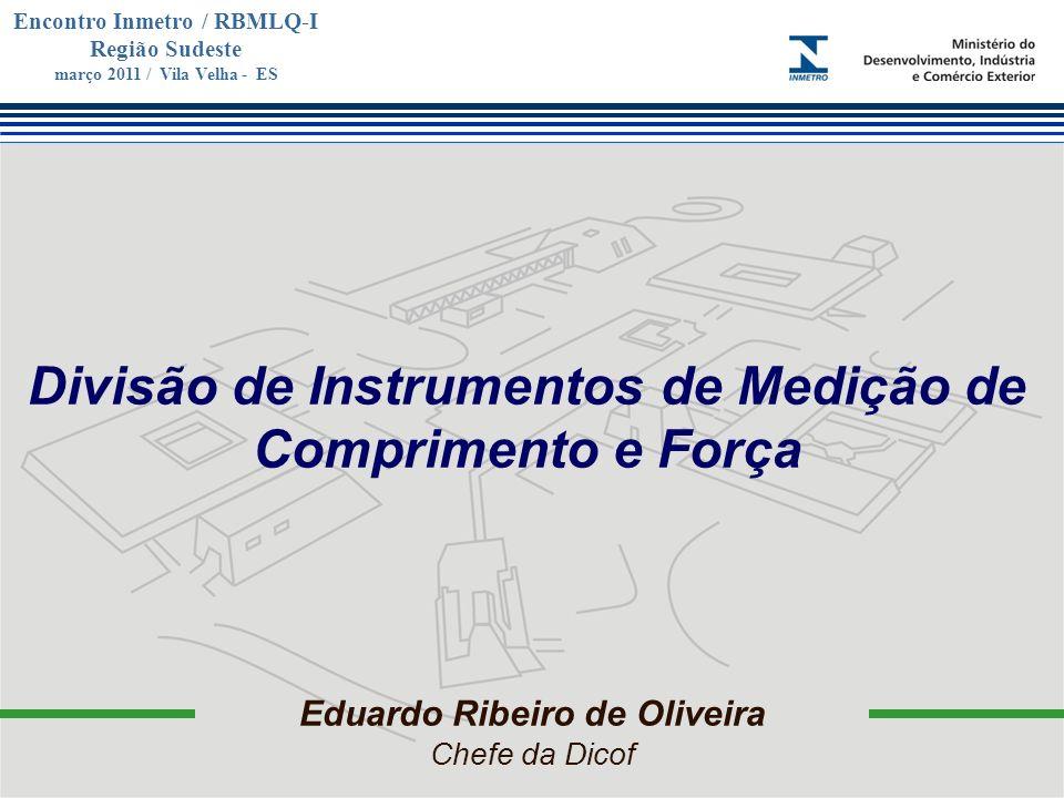 Marca do evento Encontro Inmetro / RBMLQ-I Região Sudeste março 2011 / Vila Velha - ES Eduardo Ribeiro de Oliveira Chefe da Dicof Divisão de Instrumen