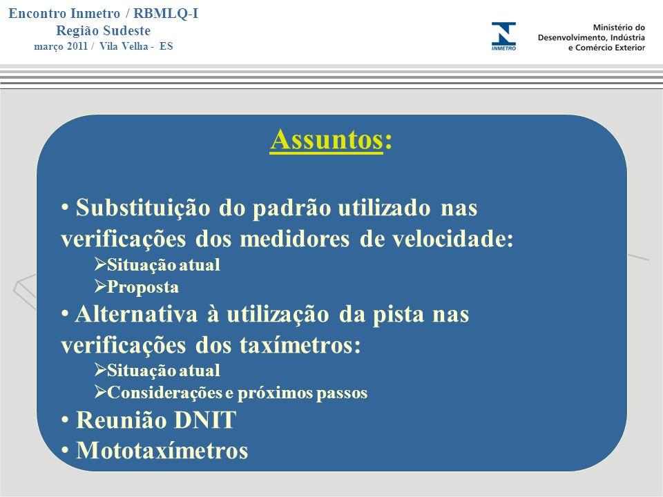 Marca do evento Encontro Inmetro / RBMLQ-I Região Sudeste março 2011 / Vila Velha - ES Assuntos: Substituição do padrão utilizado nas verificações dos