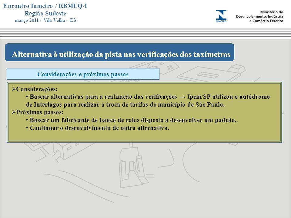 Marca do evento Encontro Inmetro / RBMLQ-I Região Sudeste março 2011 / Vila Velha - ES Alternativa à utilização da pista nas verificações dos taxímetr