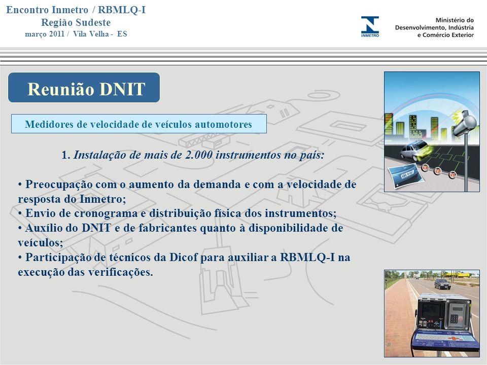 Marca do evento Encontro Inmetro / RBMLQ-I Região Sudeste março 2011 / Vila Velha - ES Reunião DNIT Medidores de velocidade de veículos automotores 1.
