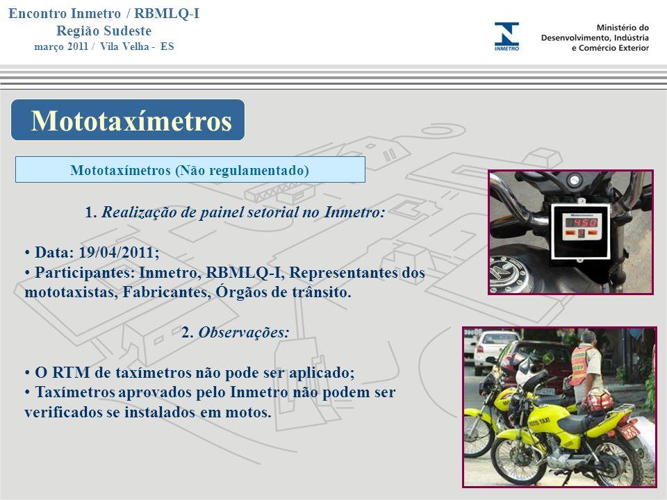 Marca do evento Encontro Inmetro / RBMLQ-I Região Sudeste março 2011 / Vila Velha - ES Mototaxímetros Mototaxímetros (Não regulamentado) 1. Realização