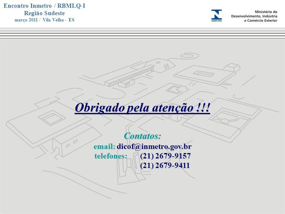 Marca do evento Encontro Inmetro / RBMLQ-I Região Sudeste março 2011 / Vila Velha - ES Obrigado pela atenção !!! Contatos: email: dicof@inmetro.gov.br