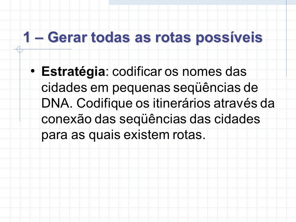 1 – Gerar todas as rotas possíveis Estratégia: codificar os nomes das cidades em pequenas seqüências de DNA.
