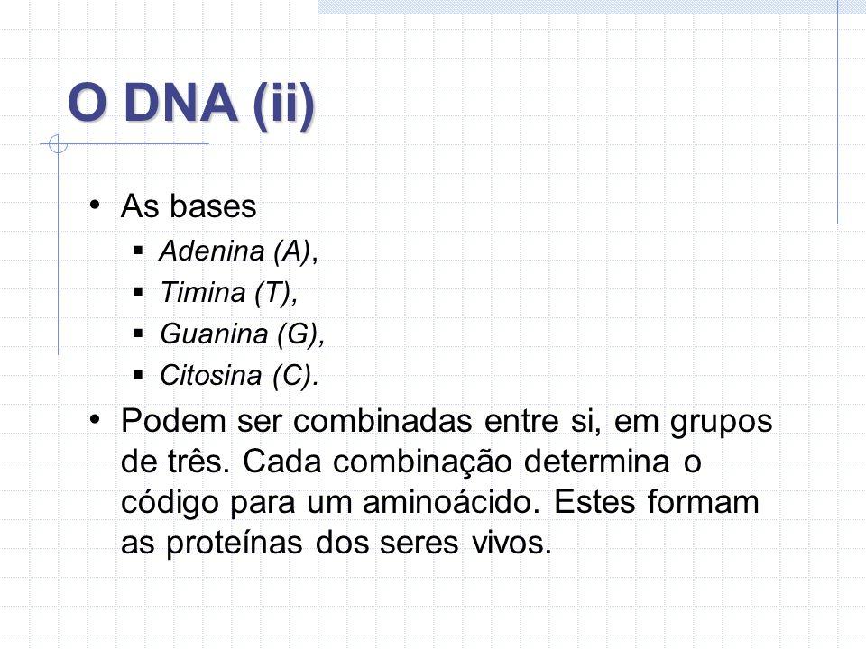 História do DNA (i) 1944 Demonstração do DNA como material genético; 1953 A descoberta; 1957 DNAs são capazes de se auto-replicar; 1963 Descoberta das base do DNA (A, G, T, C); 1977 Invenção de técnicas para ler informações no DNA;