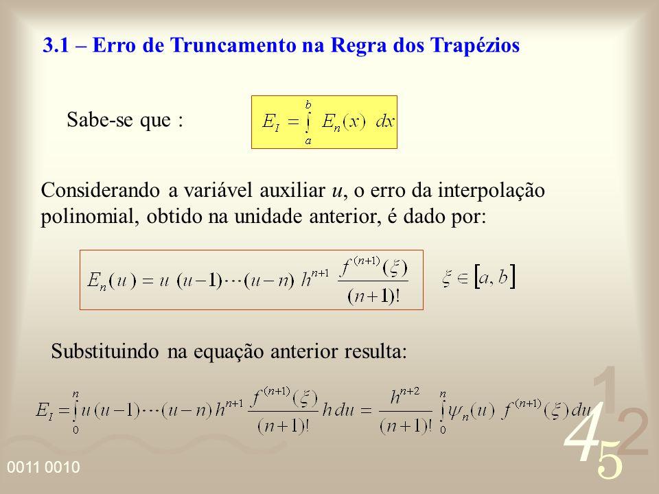 4 2 5 1 0011 0010 3.1 – Erro de Truncamento na Regra dos Trapézios Sabe-se que : Considerando a variável auxiliar u, o erro da interpolação polinomial