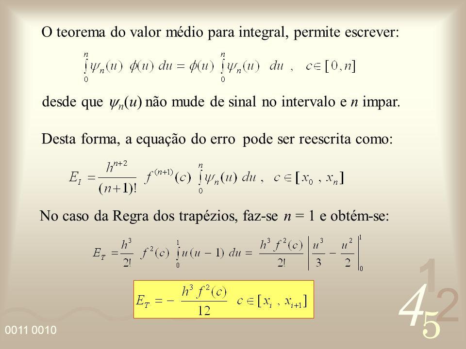 4 2 5 1 0011 0010 O teorema do valor médio para integral, permite escrever: Desta forma, a equação do erro pode ser reescrita como: desde que n (u) nã