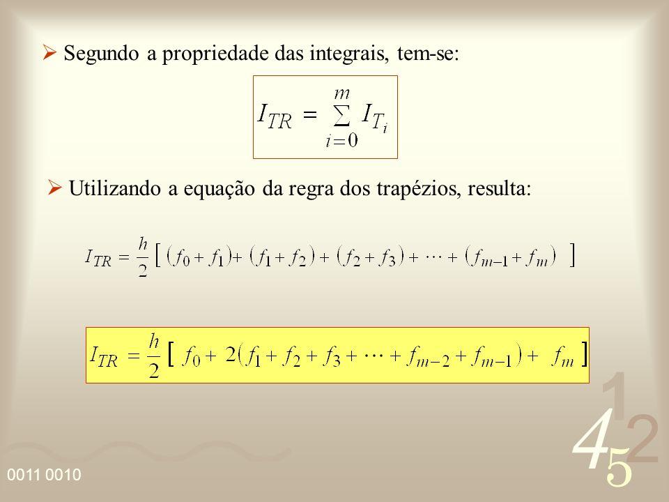 4 2 5 1 0011 0010 Segundo a propriedade das integrais, tem-se: Utilizando a equação da regra dos trapézios, resulta: