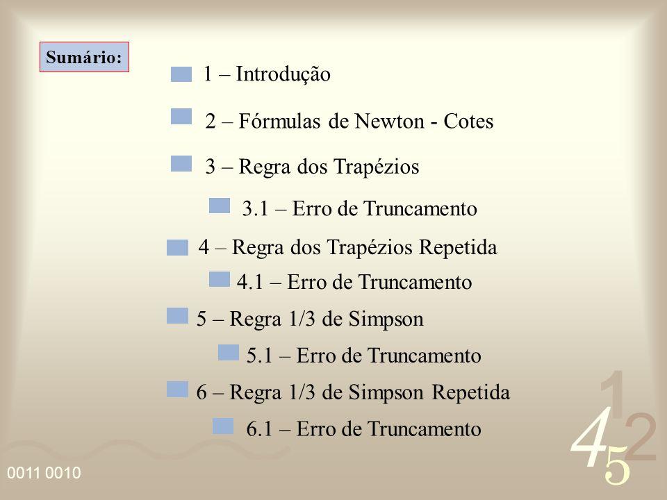 4 2 5 1 0011 0010 Sumário: 1 – Introdução 2 – Fórmulas de Newton - Cotes 3 – Regra dos Trapézios 3.1 – Erro de Truncamento 4 – Regra dos Trapézios Rep