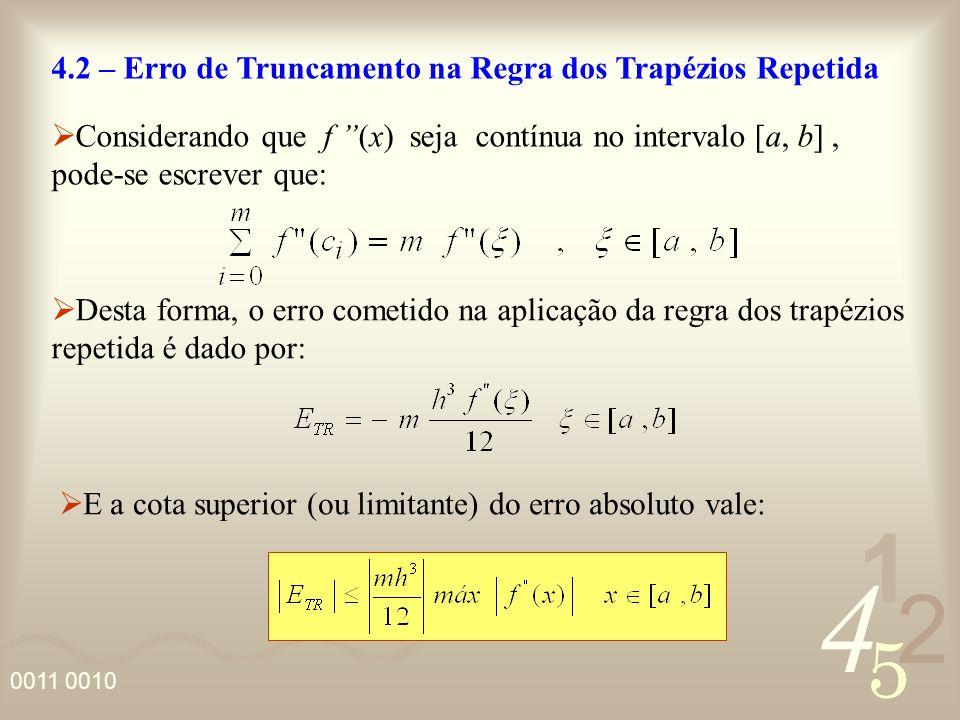 4 2 5 1 0011 0010 4.2 – Erro de Truncamento na Regra dos Trapézios Repetida Considerando que f (x) seja contínua no intervalo [a, b], pode-se escrever