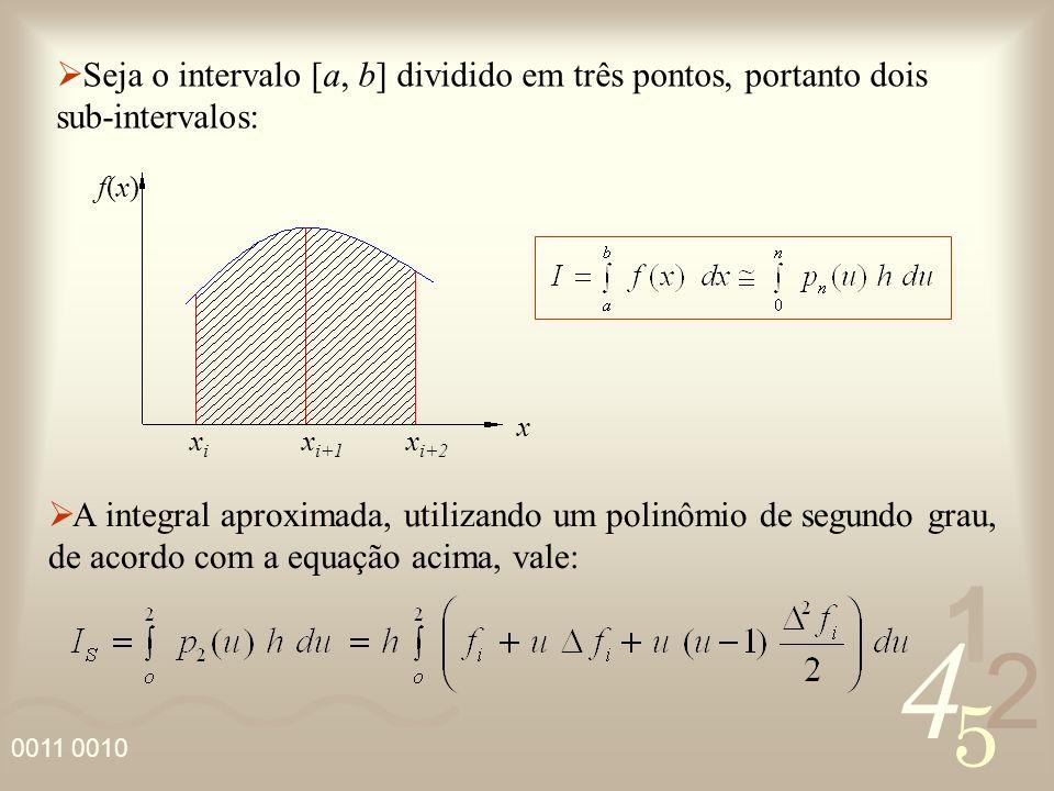 4 2 5 1 0011 0010 Seja o intervalo [a, b] dividido em três pontos, portanto dois sub-intervalos: f(x)f(x) x xixi x i+1 x i+2 A integral aproximada, ut