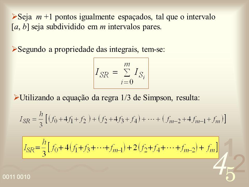 4 2 5 1 Seja m +1 pontos igualmente espaçados, tal que o intervalo [a, b] seja subdividido em m intervalos pares. Segundo a propriedade das integrais,