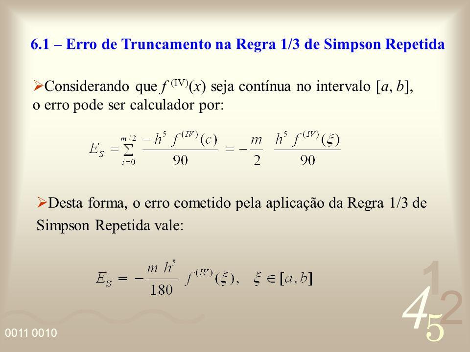 4 2 5 1 0011 0010 6.1 – Erro de Truncamento na Regra 1/3 de Simpson Repetida Considerando que f (IV) (x) seja contínua no intervalo [a, b], o erro pod
