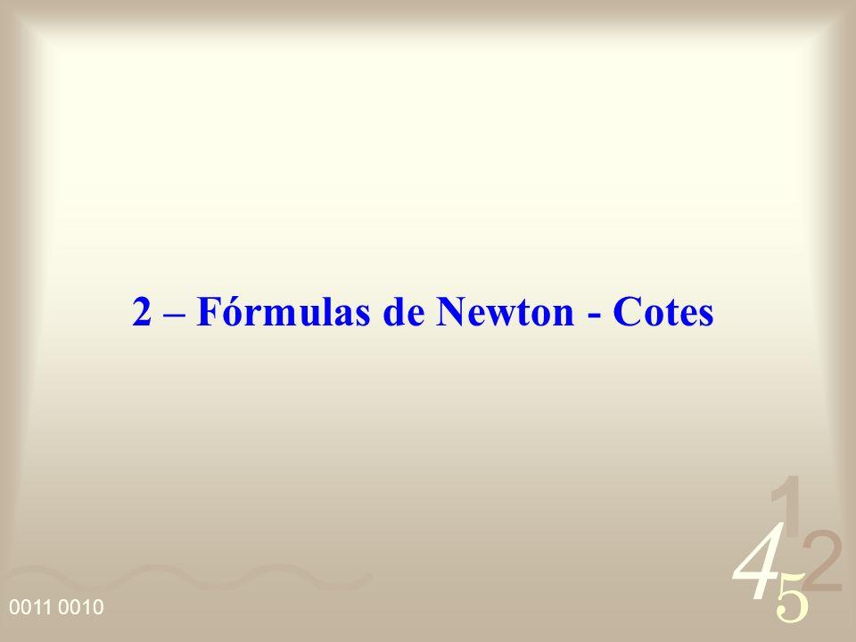 4 2 5 1 0011 0010 O teorema do valor médio para integral, permite escrever: Desta forma, a equação do erro pode ser reescrita como: desde que n (u) não mude de sinal no intervalo e n impar.