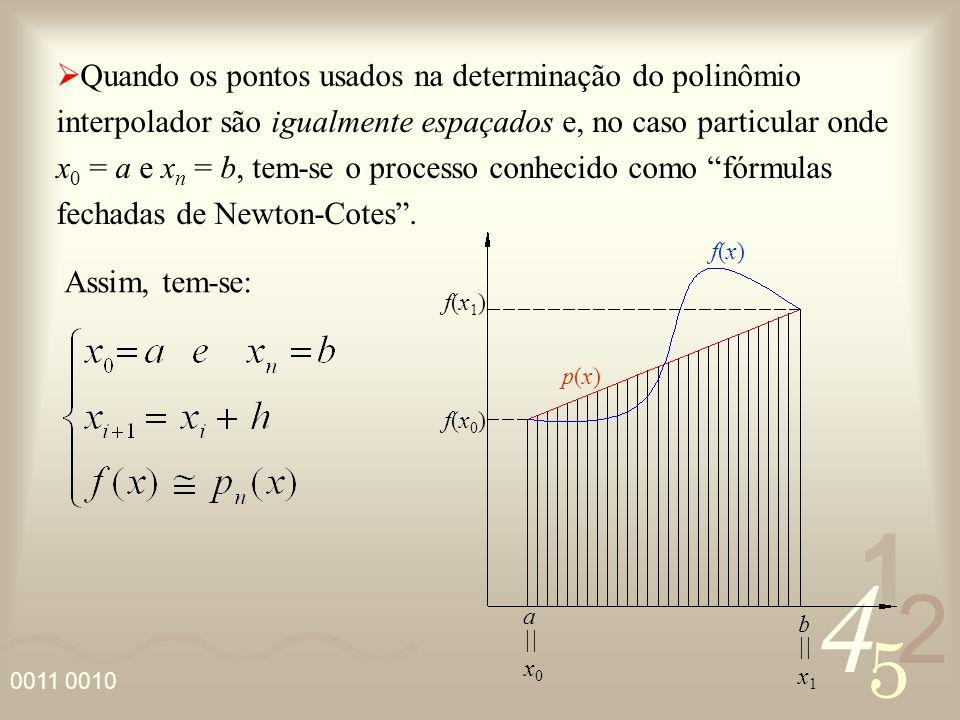 4 2 5 1 Quando os pontos usados na determinação do polinômio interpolador são igualmente espaçados e, no caso particular onde x 0 = a e x n = b, tem-s