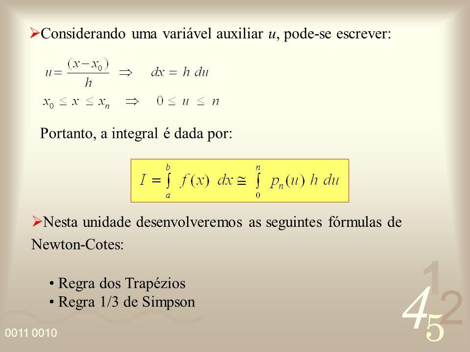 4 2 5 1 0011 0010 Pela Regra 1/3 de Simpson considera-se o polinômio p n (x) de grau máximo n = 2, assim temos: A integral aproximada é dada por: