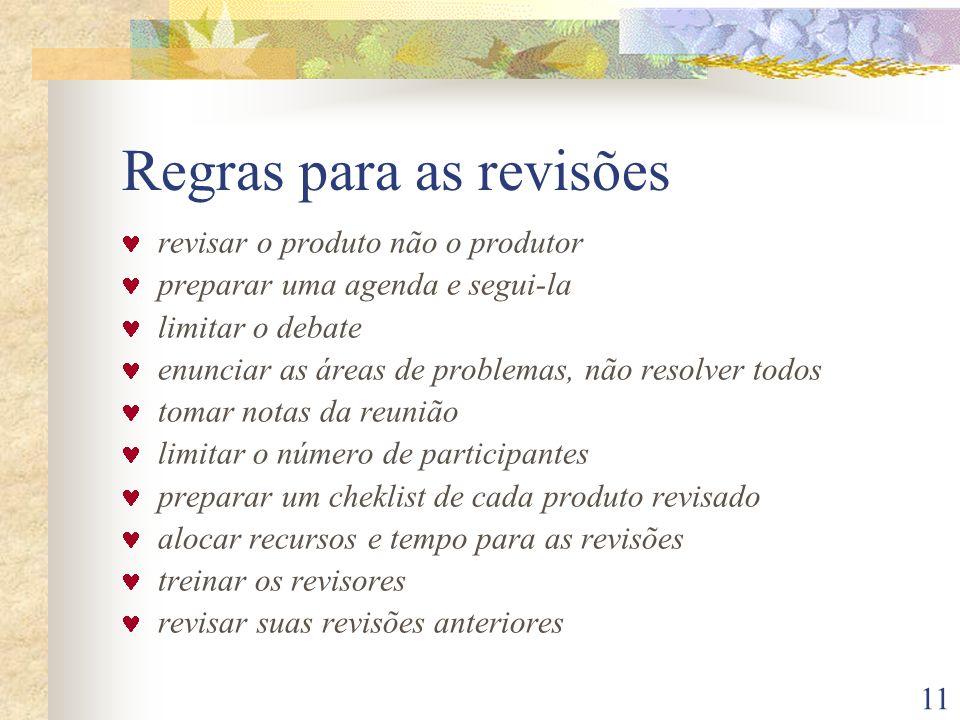 11 Regras para as revisões revisar o produto não o produtor preparar uma agenda e segui-la limitar o debate enunciar as áreas de problemas, não resolv