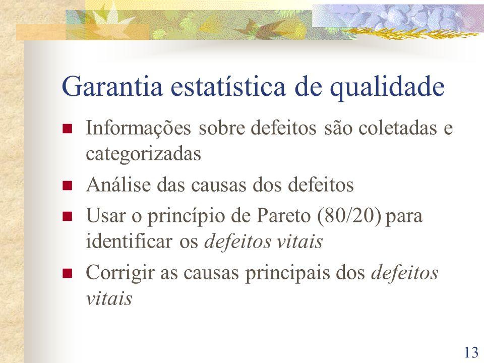 13 Garantia estatística de qualidade Informações sobre defeitos são coletadas e categorizadas Análise das causas dos defeitos Usar o princípio de Pare