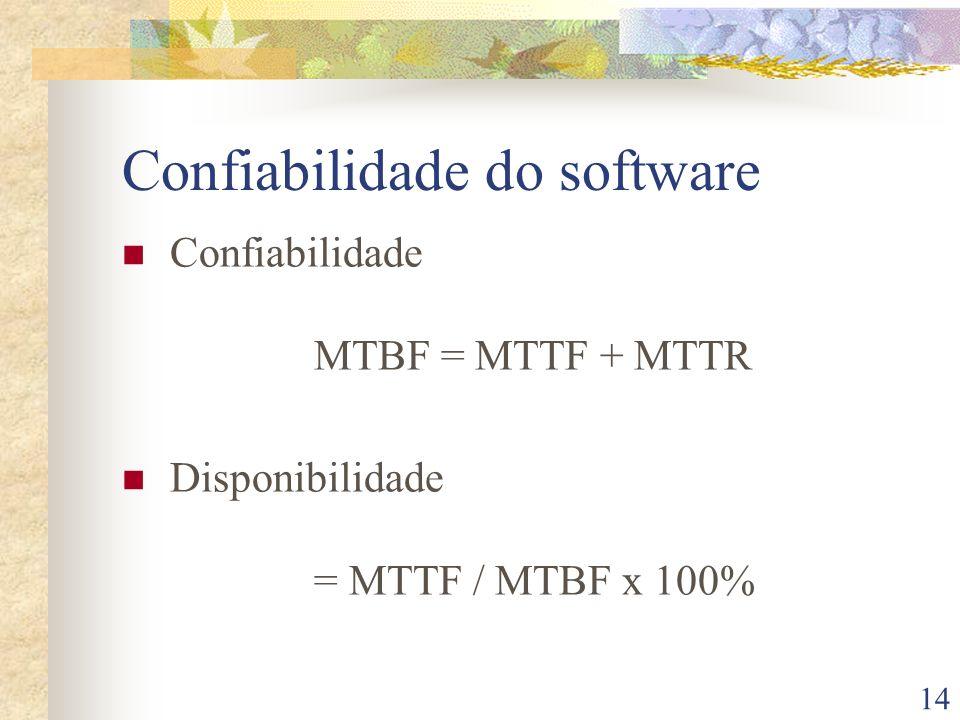 14 Confiabilidade do software Confiabilidade MTBF = MTTF + MTTR Disponibilidade = MTTF / MTBF x 100%