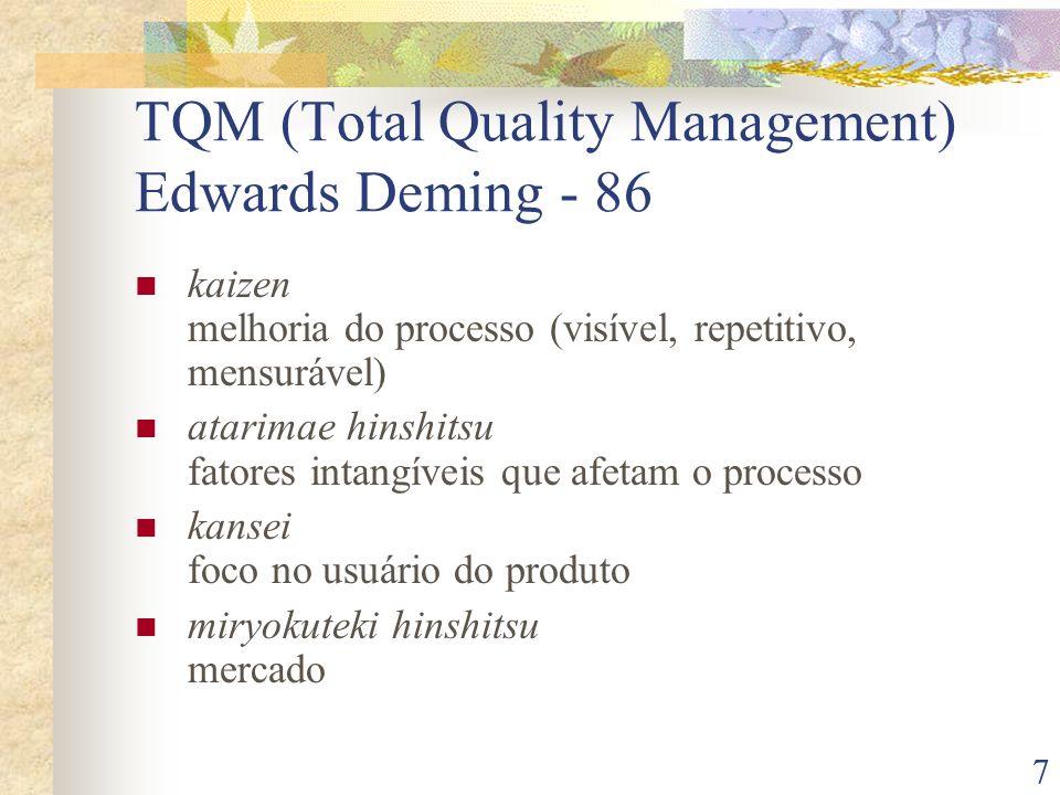 7 TQM (Total Quality Management) Edwards Deming - 86 kaizen melhoria do processo (visível, repetitivo, mensurável) atarimae hinshitsu fatores intangív