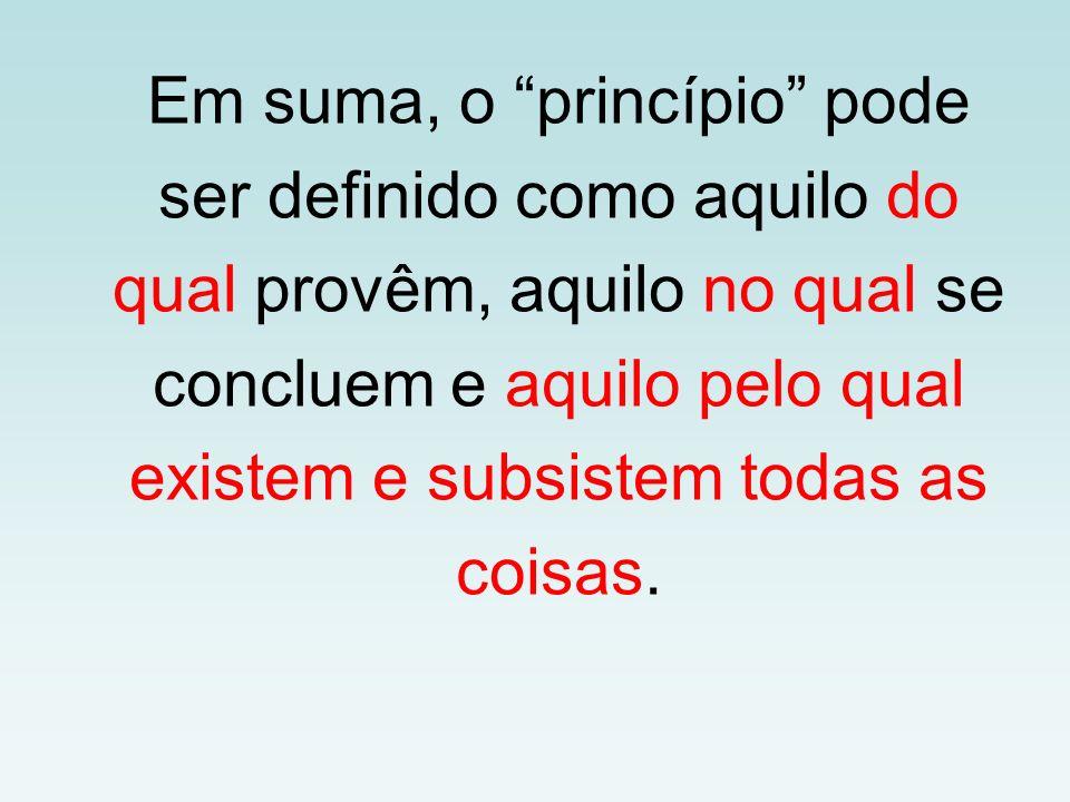Em suma, o princípio pode ser definido como aquilo do qual provêm, aquilo no qual se concluem e aquilo pelo qual existem e subsistem todas as coisas.