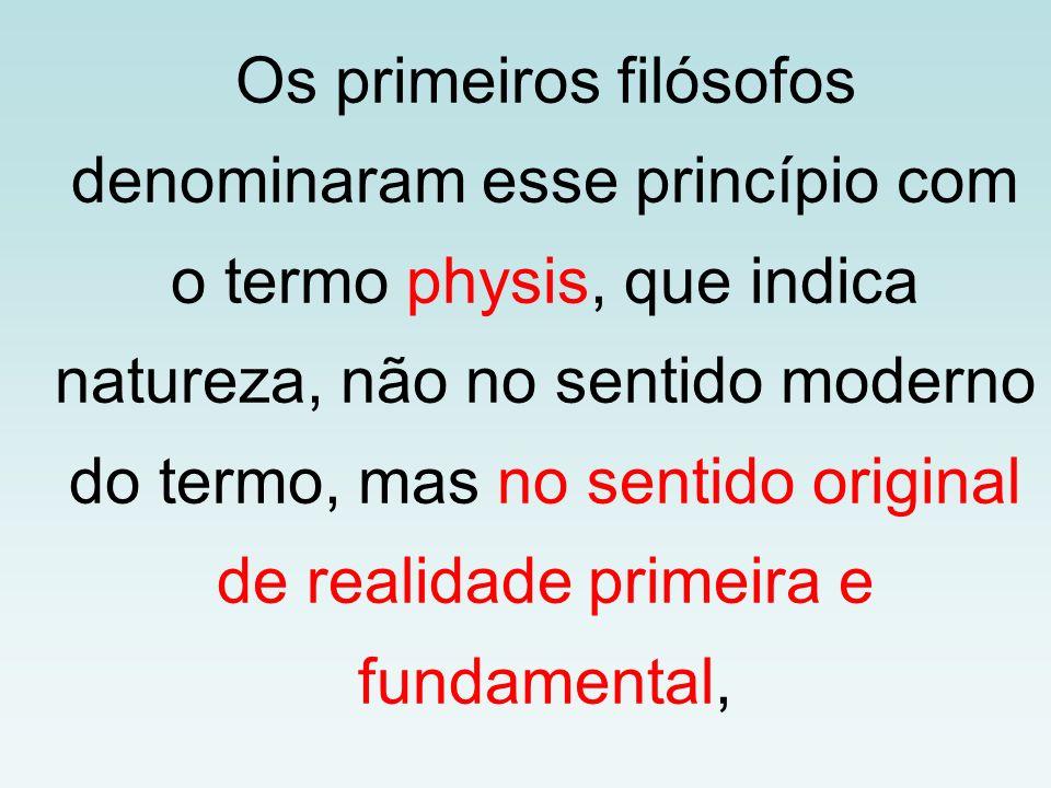 Os primeiros filósofos denominaram esse princípio com o termo physis, que indica natureza, não no sentido moderno do termo, mas no sentido original de