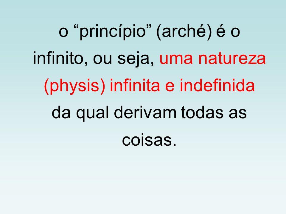 o princípio (arché) é o infinito, ou seja, uma natureza (physis) infinita e indefinida da qual derivam todas as coisas.