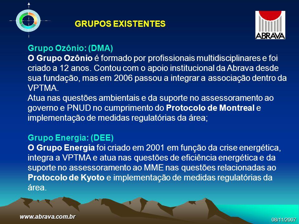 08/11/2007www.abrava.com.br Grupo Ozônio: (DMA) O Grupo Ozônio é formado por profissionais multidisciplinares e foi criado a 12 anos. Contou com o apo