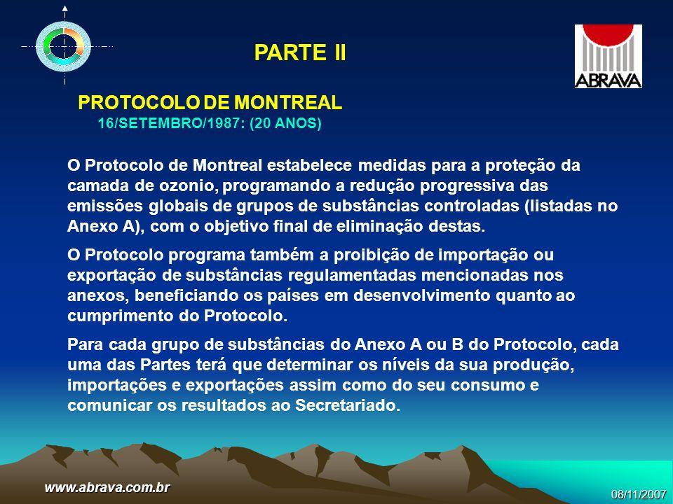 08/11/2007www.abrava.com.br O Protocolo de Montreal estabelece medidas para a proteção da camada de ozonio, programando a redução progressiva das emis