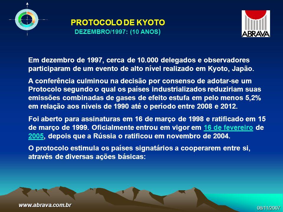08/11/2007www.abrava.com.br Em dezembro de 1997, cerca de 10.000 delegados e observadores participaram de um evento de alto nível realizado em Kyoto,