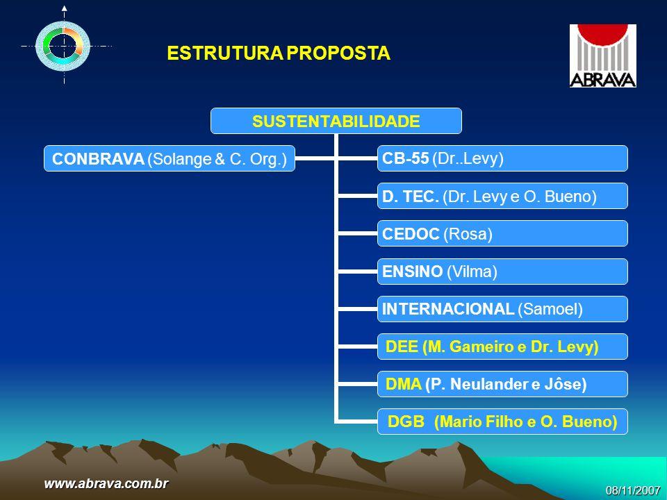 08/11/2007www.abrava.com.br SUSTENTABILIDADE D. TEC. (Dr. Levy e O. Bueno) CEDOC (Rosa) ENSINO (Vilma) INTERNACIONAL (Samoel) DEE (M. Gameiro e Dr. Le