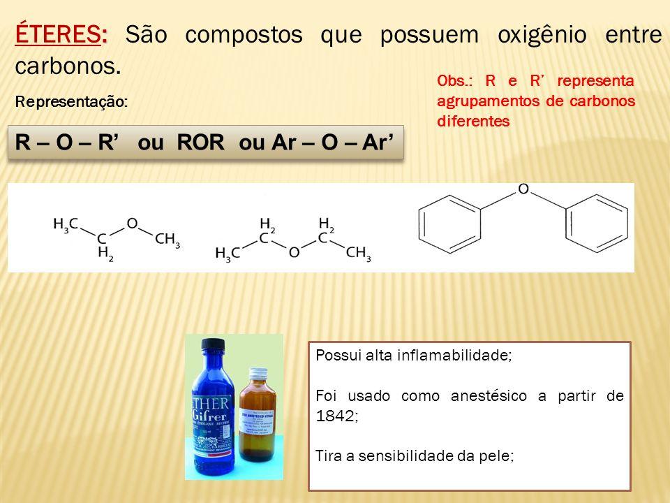 : ÉTERES: São compostos que possuem oxigênio entre carbonos. Representação: R – O – R ou ROR ou Ar – O – Ar Possui alta inflamabilidade; Foi usado com