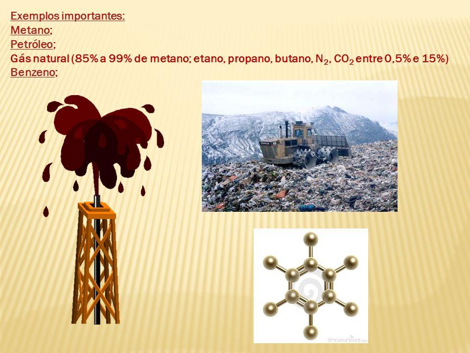 Exemplos importantes: MetanoMetano; PetróleoPetróleo; Gás natural (85% a 99% de metano; etano, propano, butano, N 2, CO 2 entre 0,5% e 15%) BenzenoBen