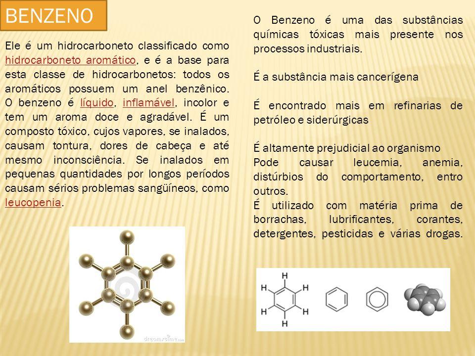 O Benzeno é uma das substâncias químicas tóxicas mais presente nos processos industriais. É a substância mais cancerígena É encontrado mais em refinar