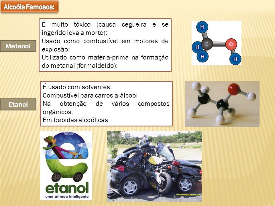 Metanol É muito tóxico (causa cegueira e se ingerido leva a morte); Usado como combustível em motores de explosão; Utilizado como matéria-prima na for