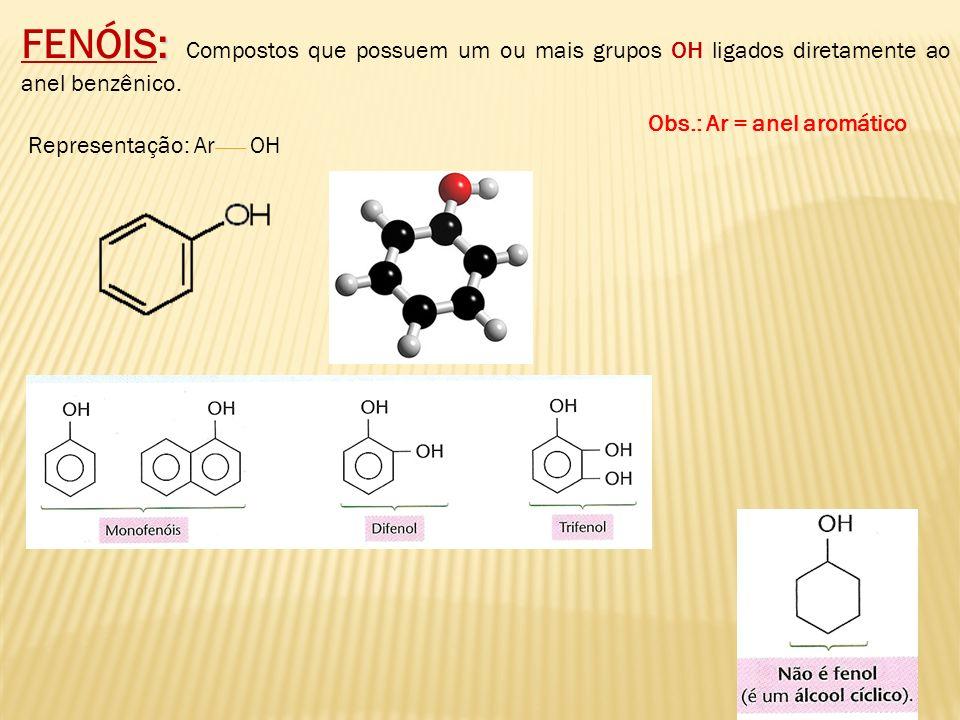 FENÓIS: Compostos que possuem um ou mais grupos OH ligados diretamente ao anel benzênico. Representação: Ar OH Obs.: Ar = anel aromático