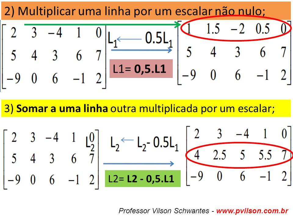 2) Multiplicar uma linha por um escalar não nulo; 3) Somar a uma linha outra multiplicada por um escalar; Professor Vilson Schwantes - www.pvilson.com.br L2= L2 - 0,5.L1 L1= 0,5.L1