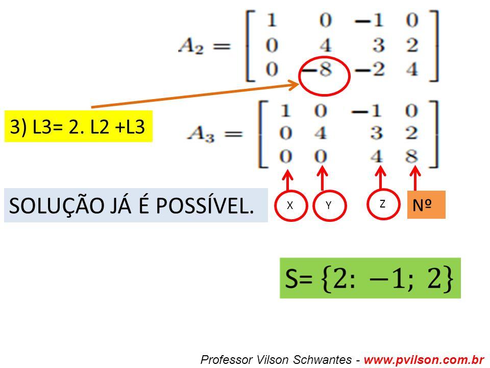 Professor Vilson Schwantes - www.pvilson.com.br 3) L3= 2. L2 +L3 SOLUÇÃO JÁ É POSSÍVEL. X Y Z Nº