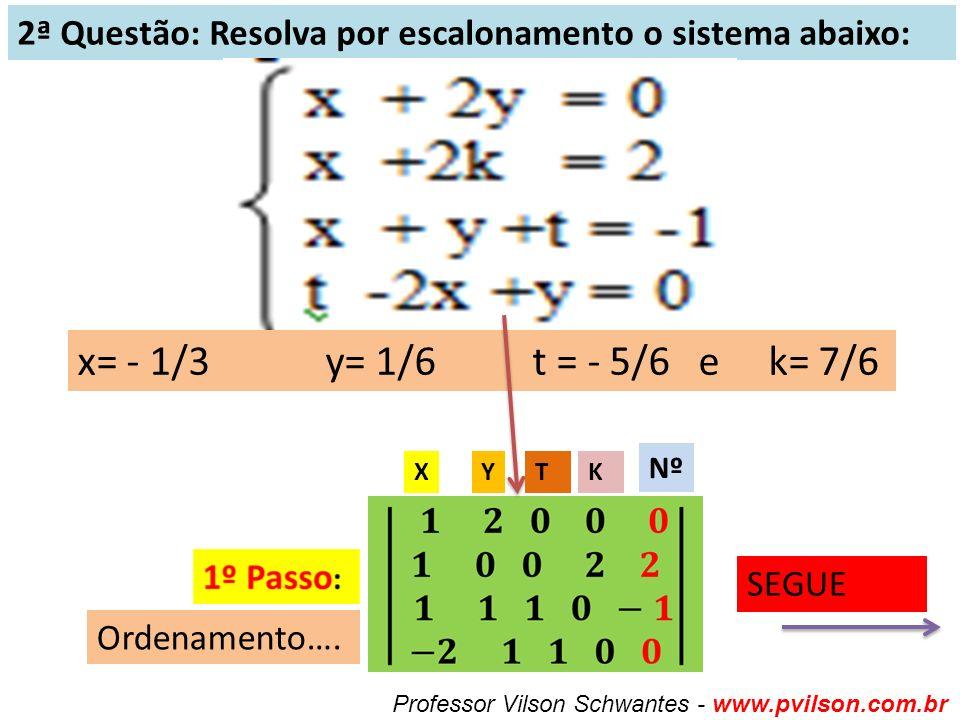 2ª Questão: Resolva por escalonamento o sistema abaixo: x= - 1/3 y= 1/6 t = - 5/6 e k= 7/6 Professor Vilson Schwantes - www.pvilson.com.br SEGUE Ordenamento….