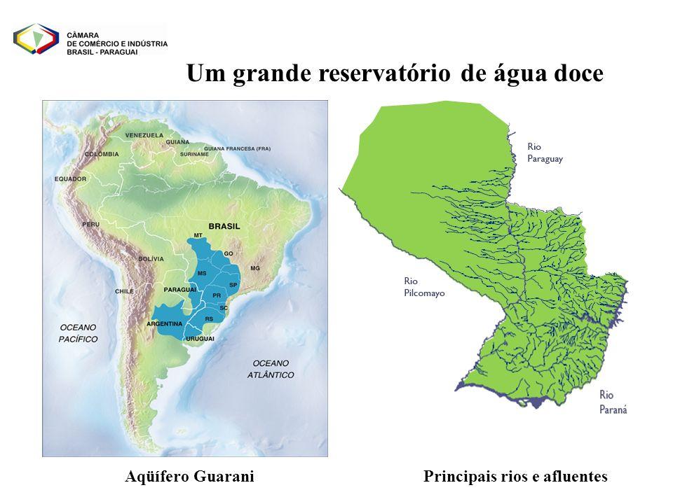Um grande reservatório de água doce Aqüífero GuaraniPrincipais rios e afluentes